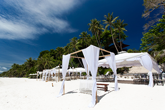 Wedding arch on caribbean beach
